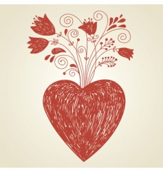 handdraw of heart vector image vector image