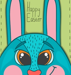 Happy Easter card with smile rabbit vector image