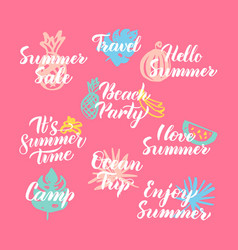Hello summer hand drawn quotes vector