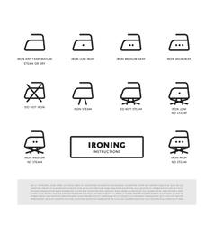 Laundry ironing symbols icon set vector