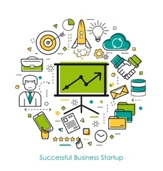 Lineart concept - successful business startup vector