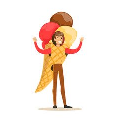 man wearing ice cream cone costume puppets food vector image vector image