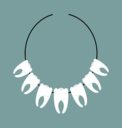 Necklace of teeth decoration on neck of indians vector
