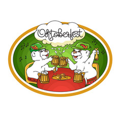 oktoberfest card bears in friendly conversation vector image