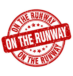 On the runway red grunge stamp vector