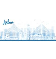 Outline lisbon city skyline vector