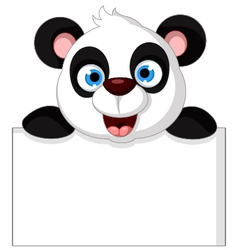 panda cartoon holding blank sign vector image