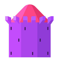 Purple tower with blue roof icon cartoon style vector