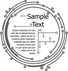 Round frame in pcb-layout style for text or design vector