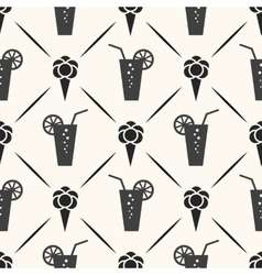 Seamless pattern of ice cream cocktail and line vector