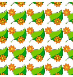 Seamless pattern with chamomiles and green leaf vector image