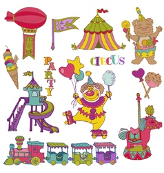 set Vintage Circus Elements vector image vector image