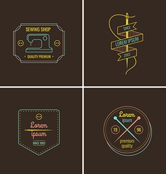Sewing and tailor shop label set vector