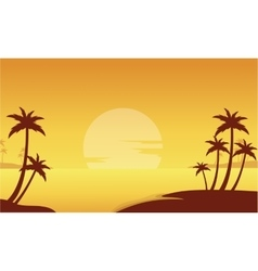 Silhouette of beach and palm trees vector
