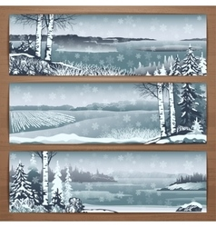 Snowy banners 1 vector image vector image