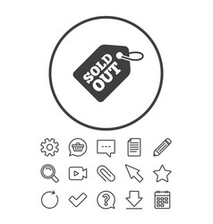 sold out tag icon shopping message sign vector image