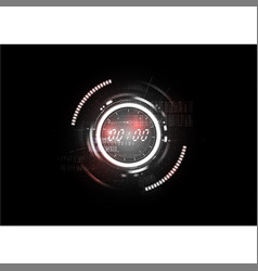 Technological abstract red light clock interface vector
