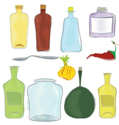 Water color jars icon set vector