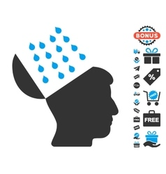 Brain shower icon with free bonus vector