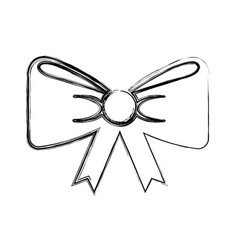 Bow with ribbon isolated icon vector