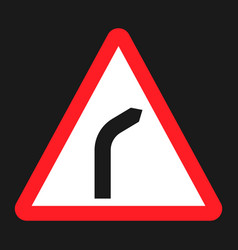 Bend to right warning sign flat icon vector