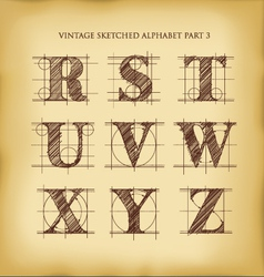 Vintage sketched alphabet set 3 vector