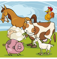 farm animals cartoon group vector image
