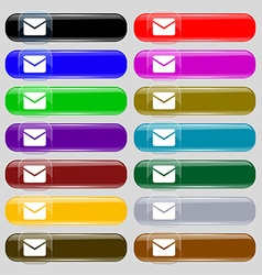 Mail envelope message icon sign set from fourteen vector