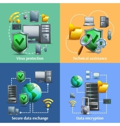 Data encryption and security icons set vector