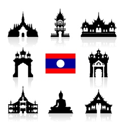 Laos icon travel landmarks vector