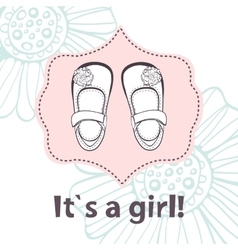 It s a girl lovely baby shower card with cute vector