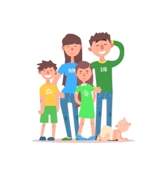 Family with parents wearing jeans vector