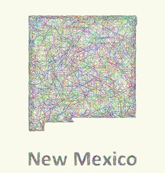 New mexico line art map vector