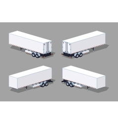 Low poly white cargo trailer vector