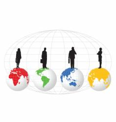 figures on globe vector image