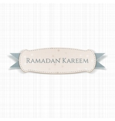 Ramadan kareem realistic banner with ribbon vector