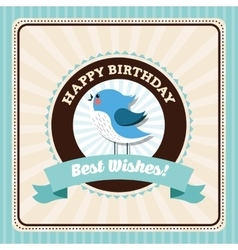 Happy birthday design bird icon colorfull vector