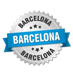 Barcelona round silver badge with blue ribbon vector