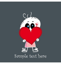 Cute little baby holding a red heart vector