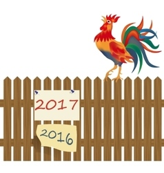 A fence made of wood rooster on the fence vector
