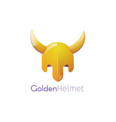 A golden helmet with horns vector