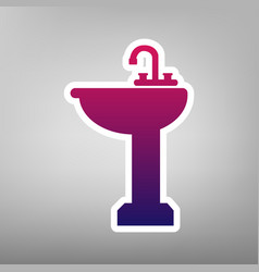 Bathroom sink sign purple gradient icon vector
