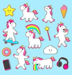 Big set of rainbow unicorn character stickers vector