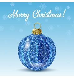 Blue christmas ball on snowflakes background vector