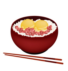 Bowl of boiled rice with raw egg and maguro vector