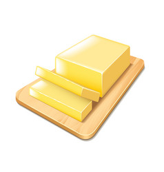 Butter on cutting board isolated vector image