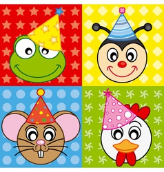 cartoon party animal icons collection vector image