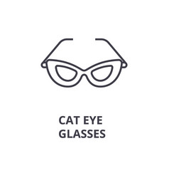 Cat eye glasses line icon outline sign linear vector