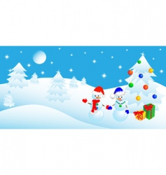 Christmas in the winter forest vector image vector image