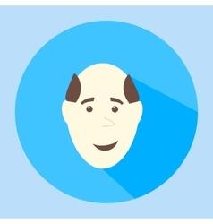 Color balding smiles flat icon man face vector